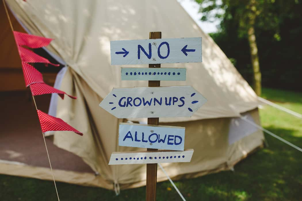 Entertaining children with their own bell tent, no grown ups allowed rustic sign