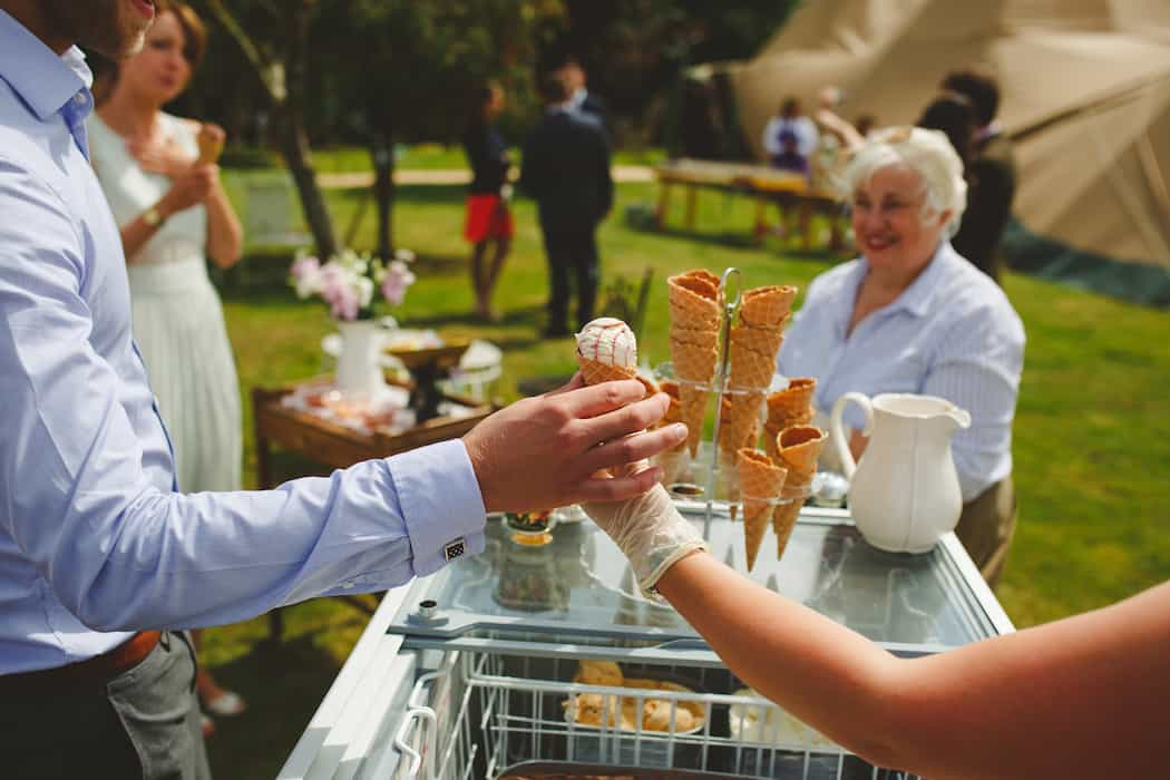 Traditional Ice Cream Tricycle - Tom and Ellie's Sami Tipi Wedding at Shingford Manor Derbyshire captured by Camera Hannah