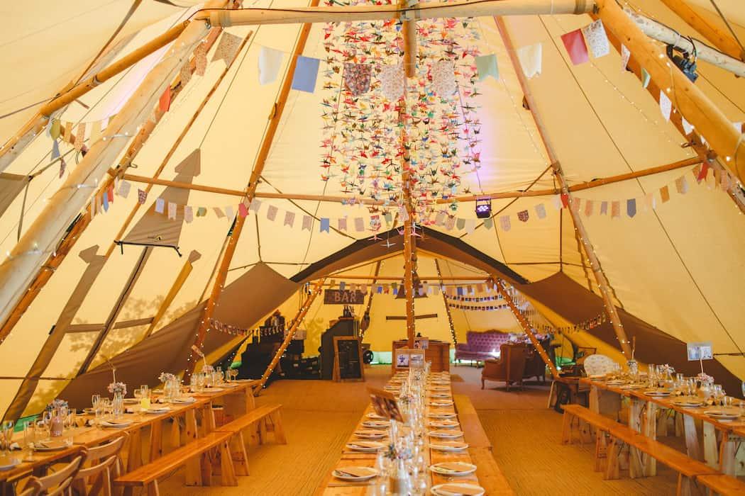 1000 paper cranes tipi styling - Tom and Ellie's Sami Tipi Wedding at Shingford Manor Derbyshire captured by Camera Hannah