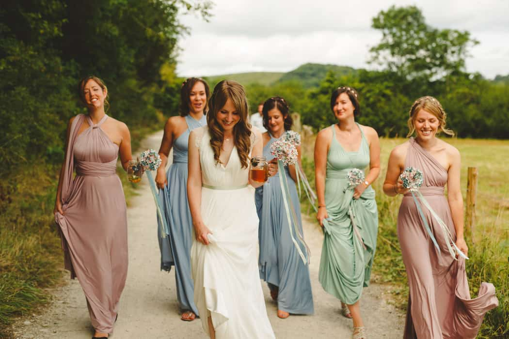 Relaxed bride with bridesmaids