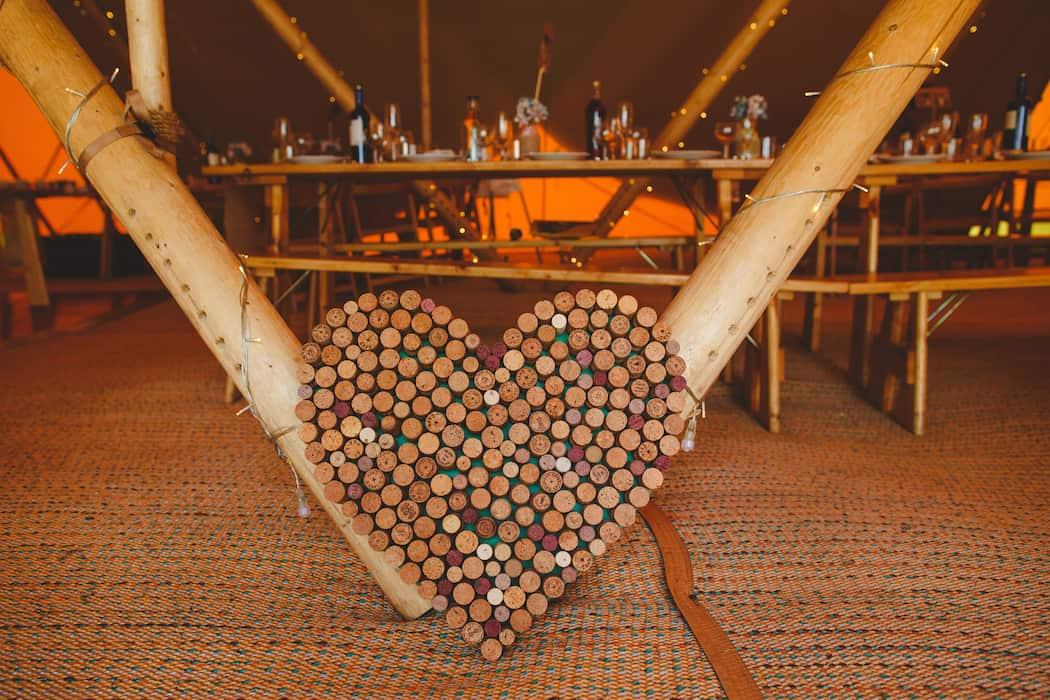 Cork Love Heart - Tom and Ellie's Sami Tipi Wedding at Shingford Manor Derbyshire captured by Camera Hannah