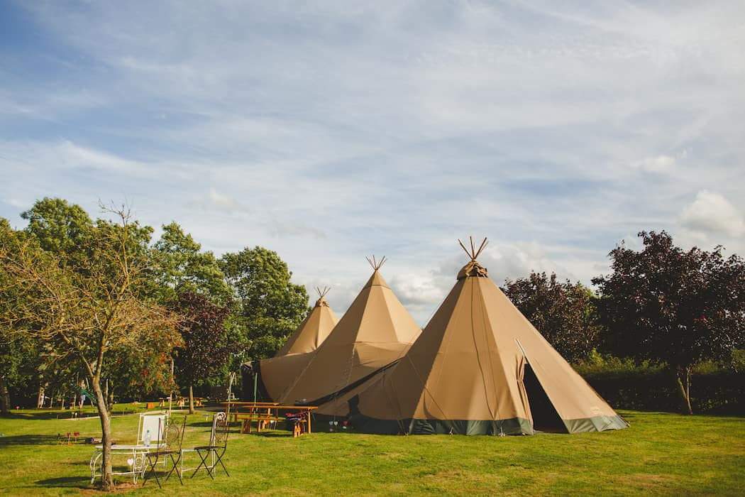 Two Giant Hats and Chill-Out Tipi wedding at Shiningford Manor nr Carsington
