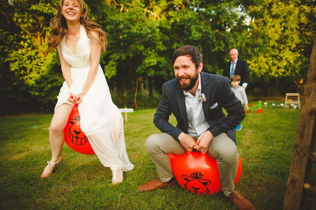 Space Hopper Race between bride and groom