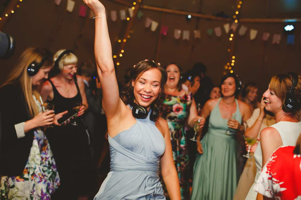 Silent Disco - Tom and Ellie's Sami Tipi Wedding at Shingford Manor Derbyshire captured by Camera Hannah
