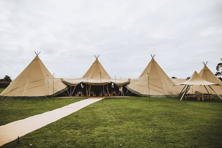 Three giant hat tipis with chill out tipi and little hat - Sami Tipi Your Event Your Way