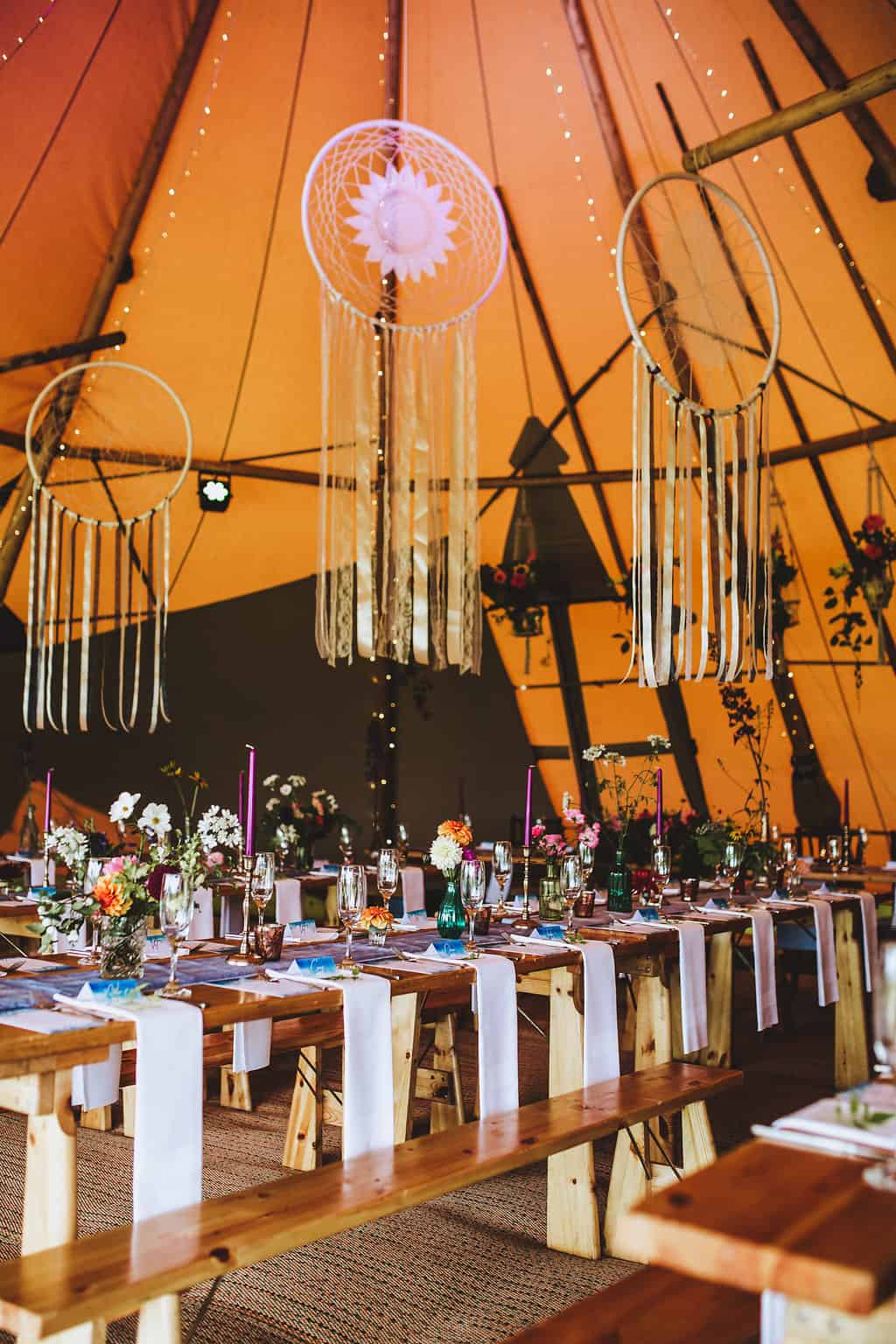 Giant Dream Catchers - Sami Tipi Wedding Table Scape