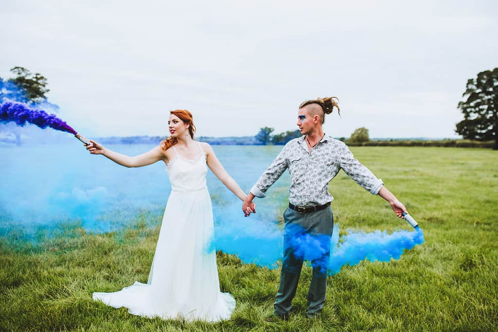 Festival Wedding Smoke Bombs - Sami Tipi Wedding Styling