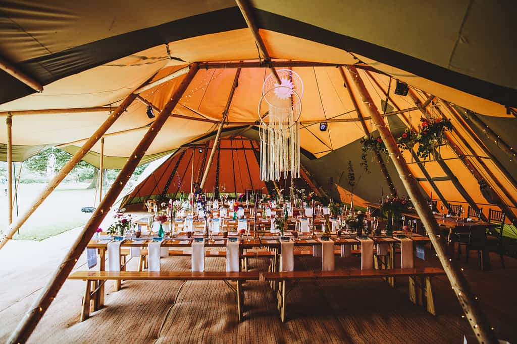 Internal tipi set up - Sami Tipi Wedding