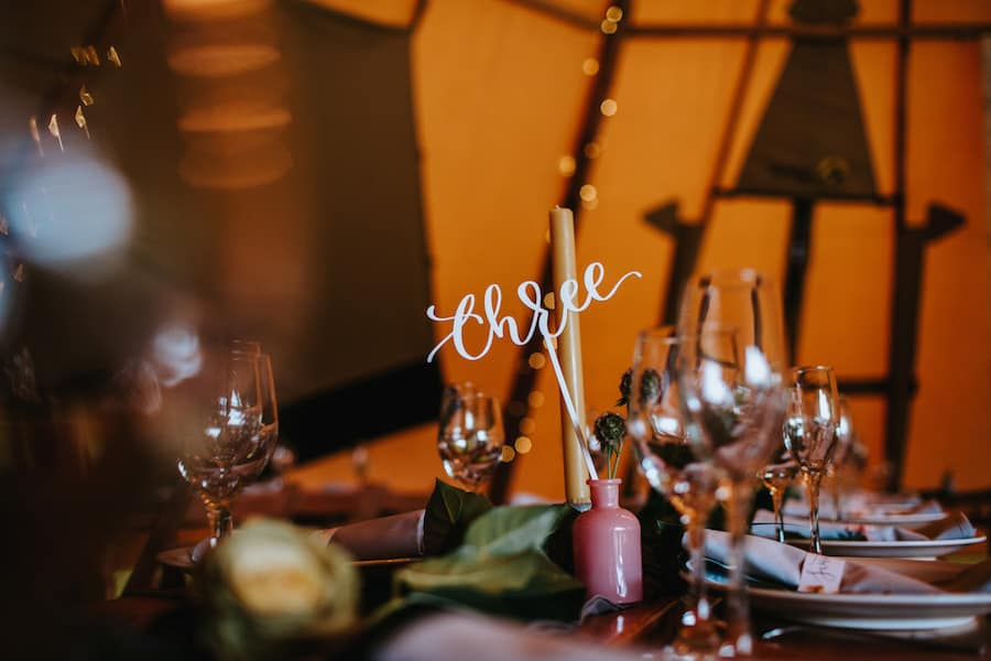 Hand lettering Table Numbers | Sami Tipi| Styled by Tickety Boo Events | Image by Ed Brown Photography
