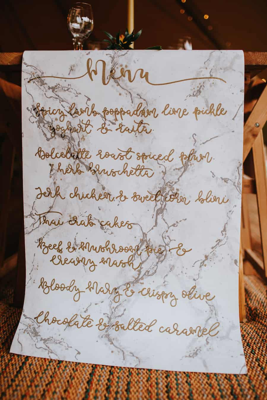 Hand lettering Table Runner and Menu | Sami Tipi| Styled by Tickety Boo Events | Image by Ed Brown Photography