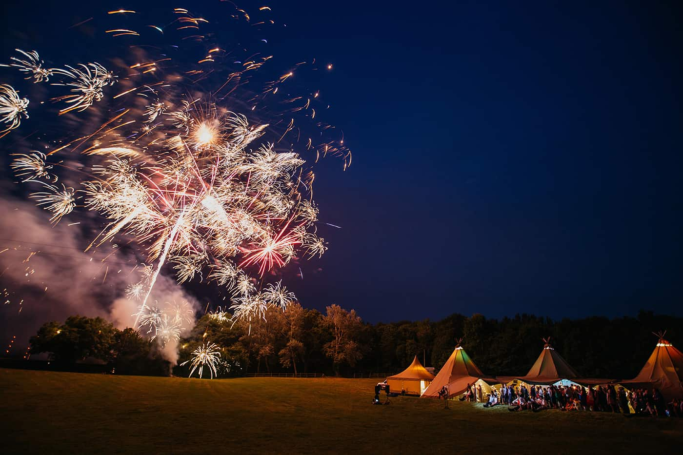 Tipi with firework display