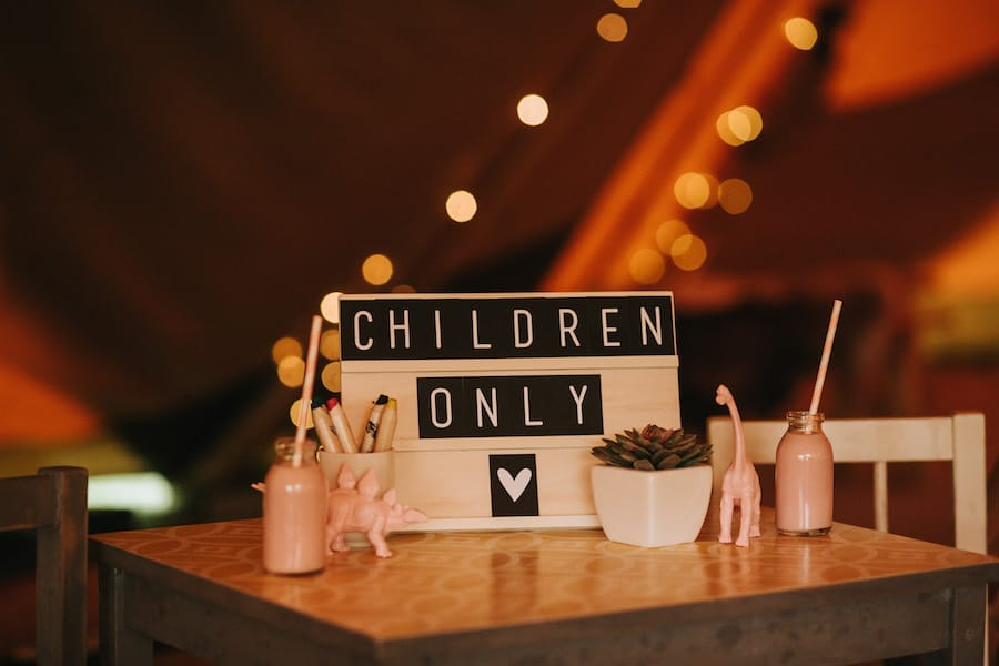 Entertaining children at weddings with their own table