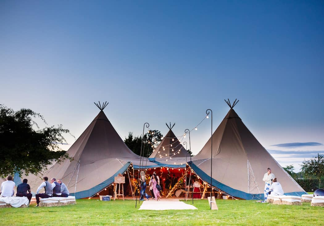 Three Giant Hat and Chill-Out Tipi wedding