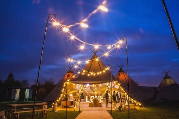 Festoon Walkway - WOW your guests at night with this fabulous display of night. The perfect welcome in to the tipis as well as being super practical add adding extra lighting to your outdoor space