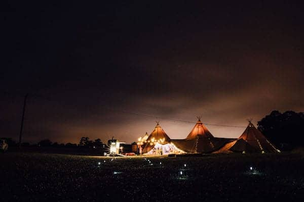 Tipis at Night at cuttle Brook captured by samuel docker photography