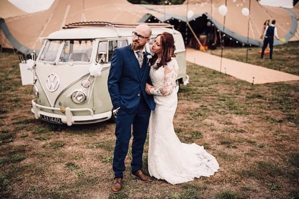 Tipi Wedding with VW Wedding Car at Cuttle Brook, Swarkestone, Derbyshire