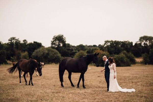 Bride and Groom visiting horses at Cuttle Brook Wedding