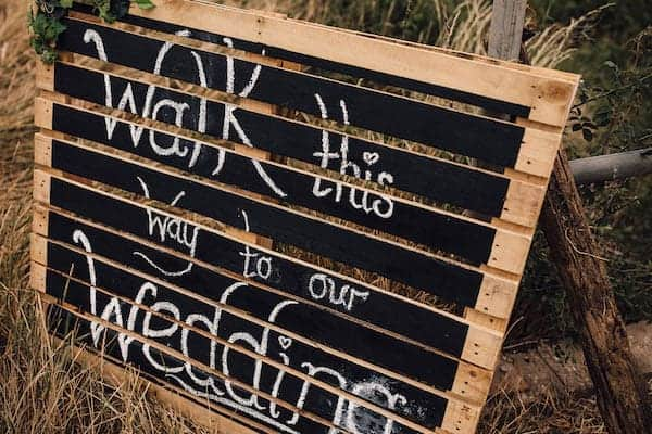 Walk this way to our wedding, rustic wedding sign