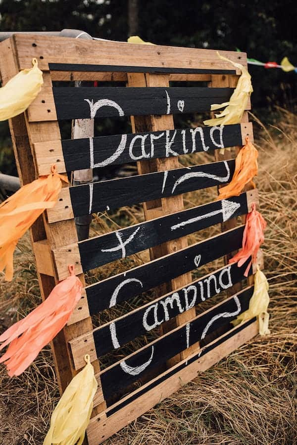 Parking and camping rustic wedding sign