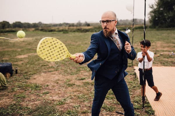Swing Ball, groom taking the game very seriously
