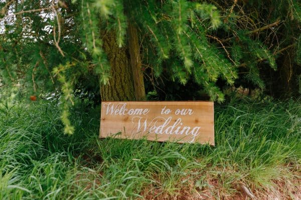 Welcome to our wedding rustic sign - derbyshire tipi wedding