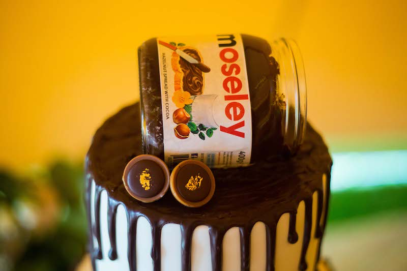 Drizzled chocolate wedding cake with personalised nutella topper