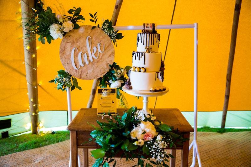 Drizzled chocolate wedding cake
