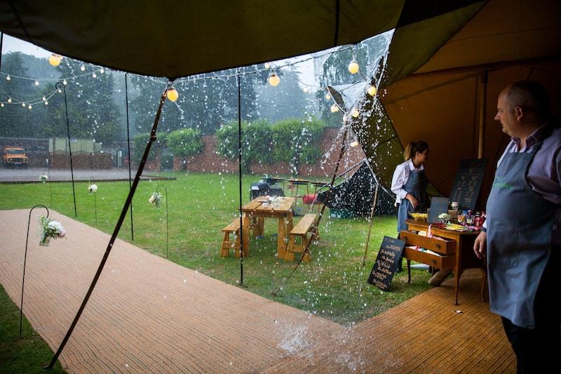 Rainy Tipi Wedding Entrance