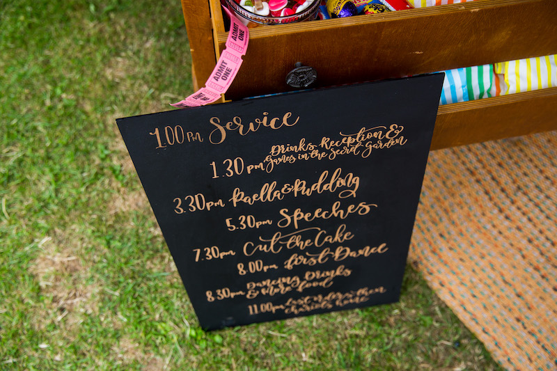 timeline of the wedding day on hand written board