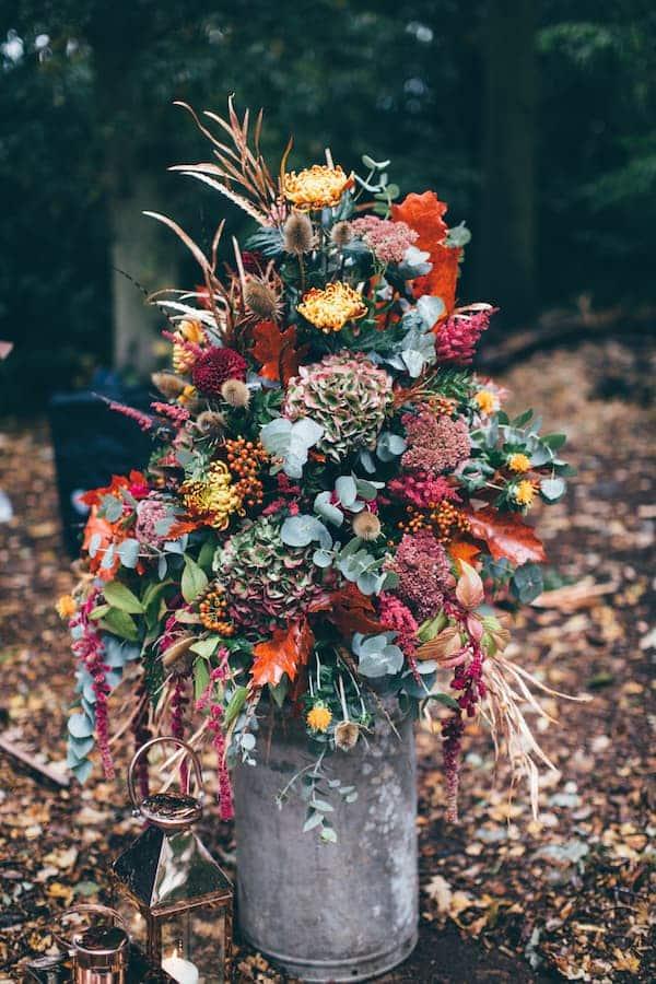Autumnal floral display for Bradgate park wedding ceremony