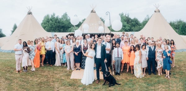 Photo of all of Liberty and Joe's Tipi Wedding in Derbyshire