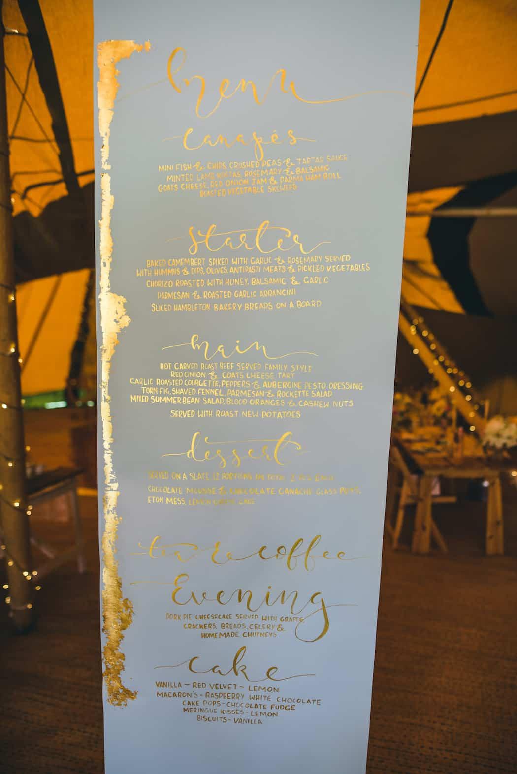 Menu scroll for Bawdon Lodge Farm Tipi Wedding with three giant hat tipis