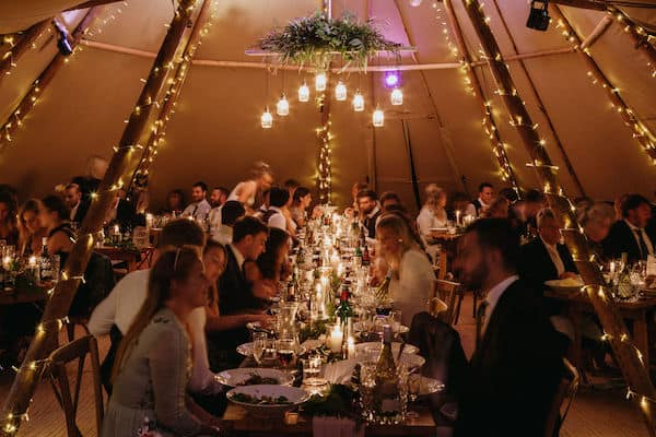 Dinning space of tipi wedding