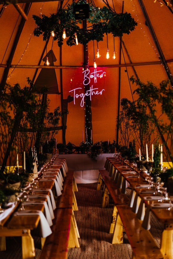 Neon hanging sign Better Together ideal for behind the top table for a wedding celebration in a Tipi or Sailcloth Tent