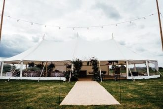 Three pole sailcloth tent marquee wedding