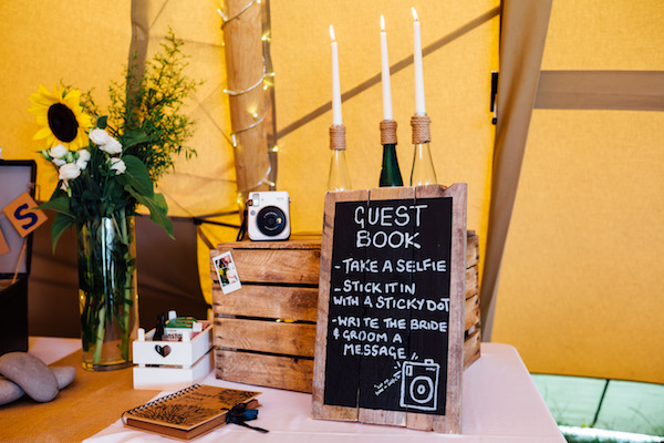 Rustic Guest Book Sign and Polaroid camera