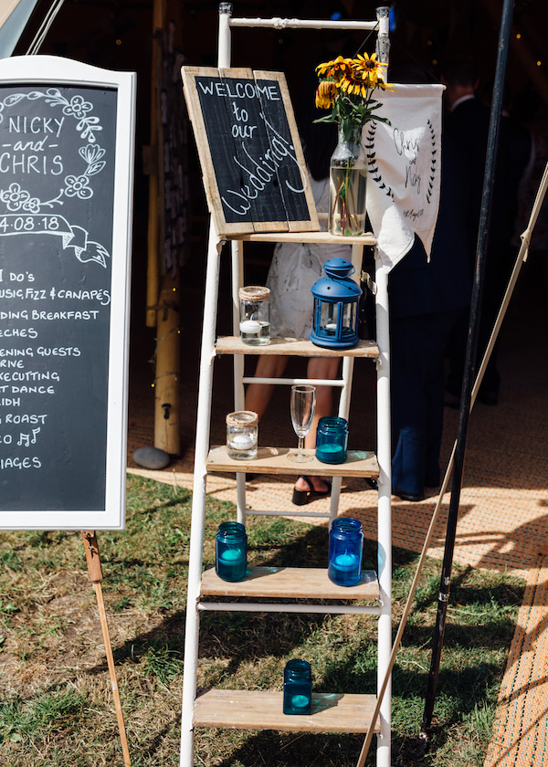 Rustic ladder as wedding welcome station - cuttle brook wedding