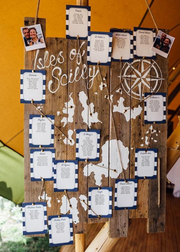 Isles of Scilly Table Seating Plan DIY seating plan