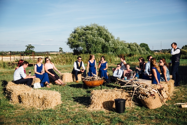 Relaxed bale seating and fire pit for outdoor relaxed zone at Cuttle Brook Wedding
