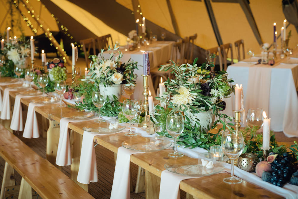 How To Style Your Tipi Wedding Explained by Lesley of The Rustic Wedding Company. An Elegant Look with real fruit as table decorations