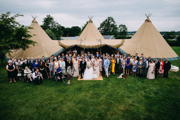 Three giant hat tipis setup at bawdon lodge farm for the wedding of sarah and jon