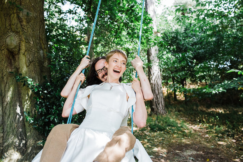 Nanpantan Tipi Wedding, bride and groom on swing