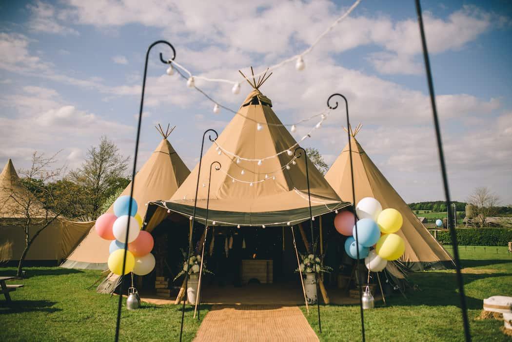 Bawdon Lodge Farm Tipi Wedding with three giant hat tipis