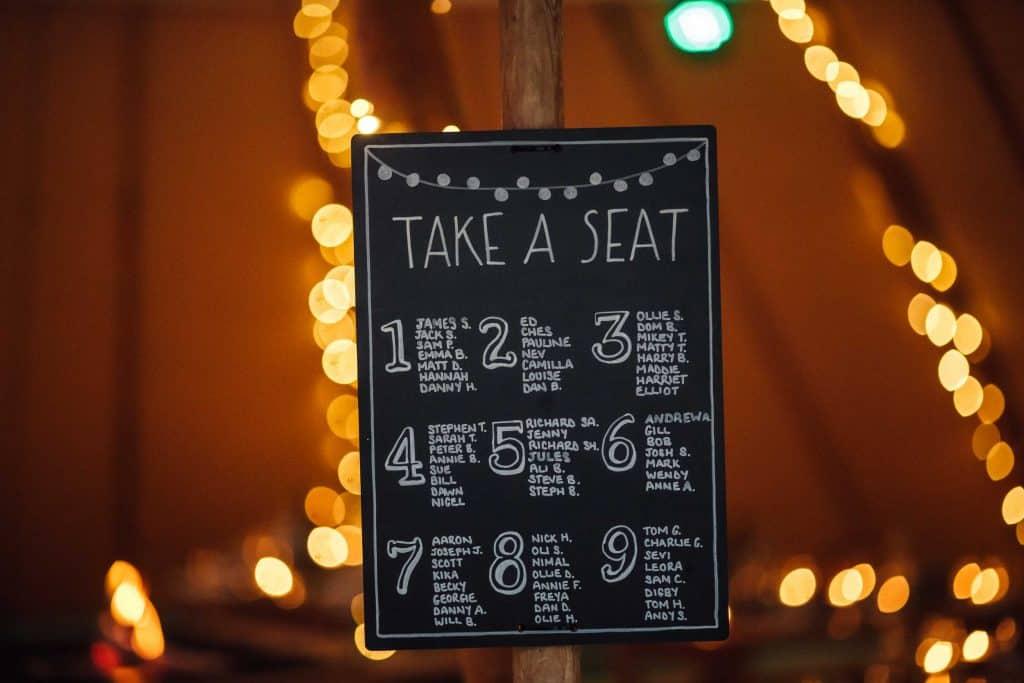21st Birthday seating plan