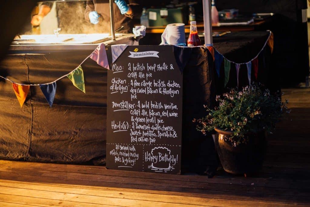 Pieminister pie menu for 21st birthday party