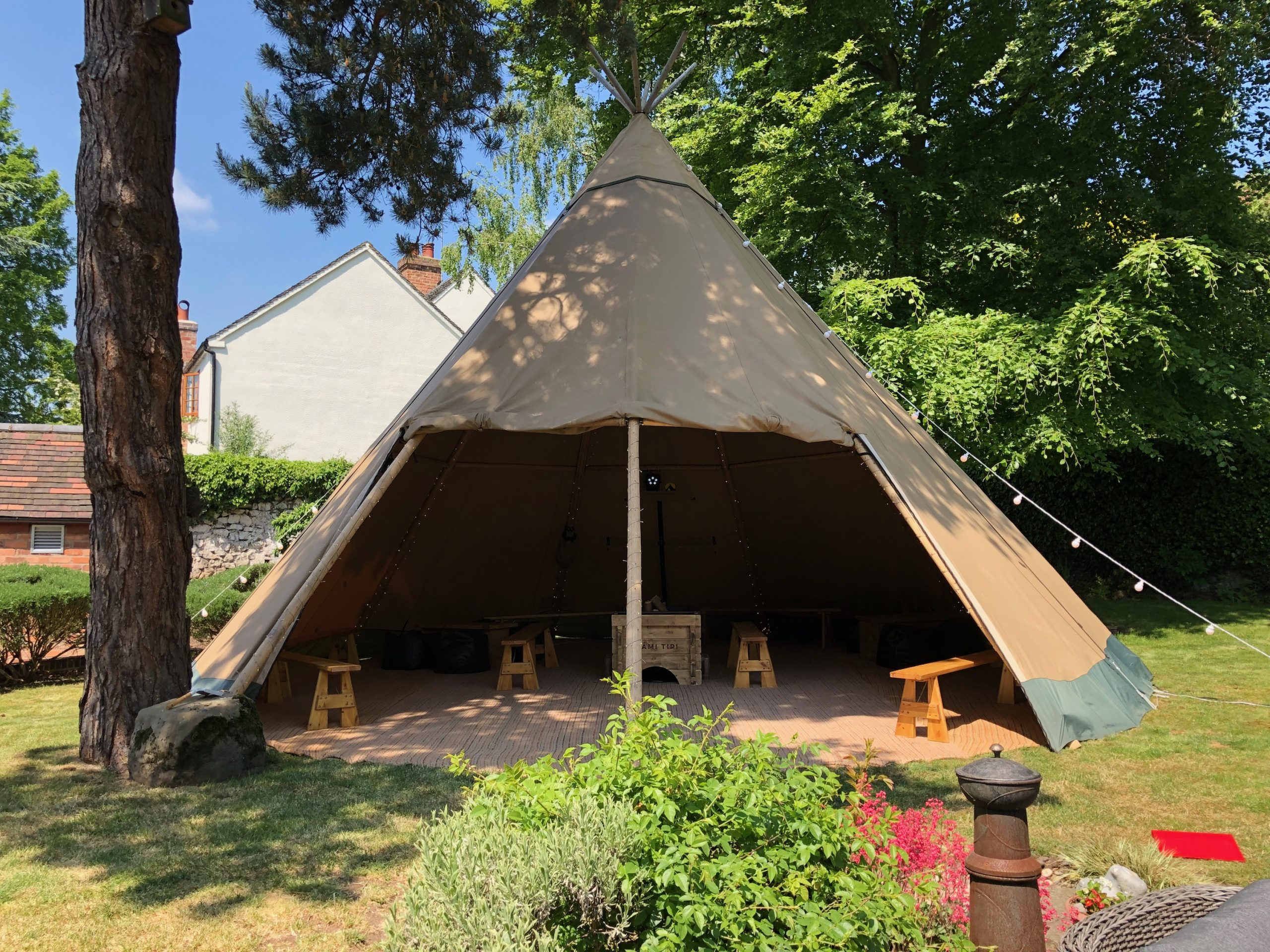 Garden lockdown celebration with a chill-out tipi