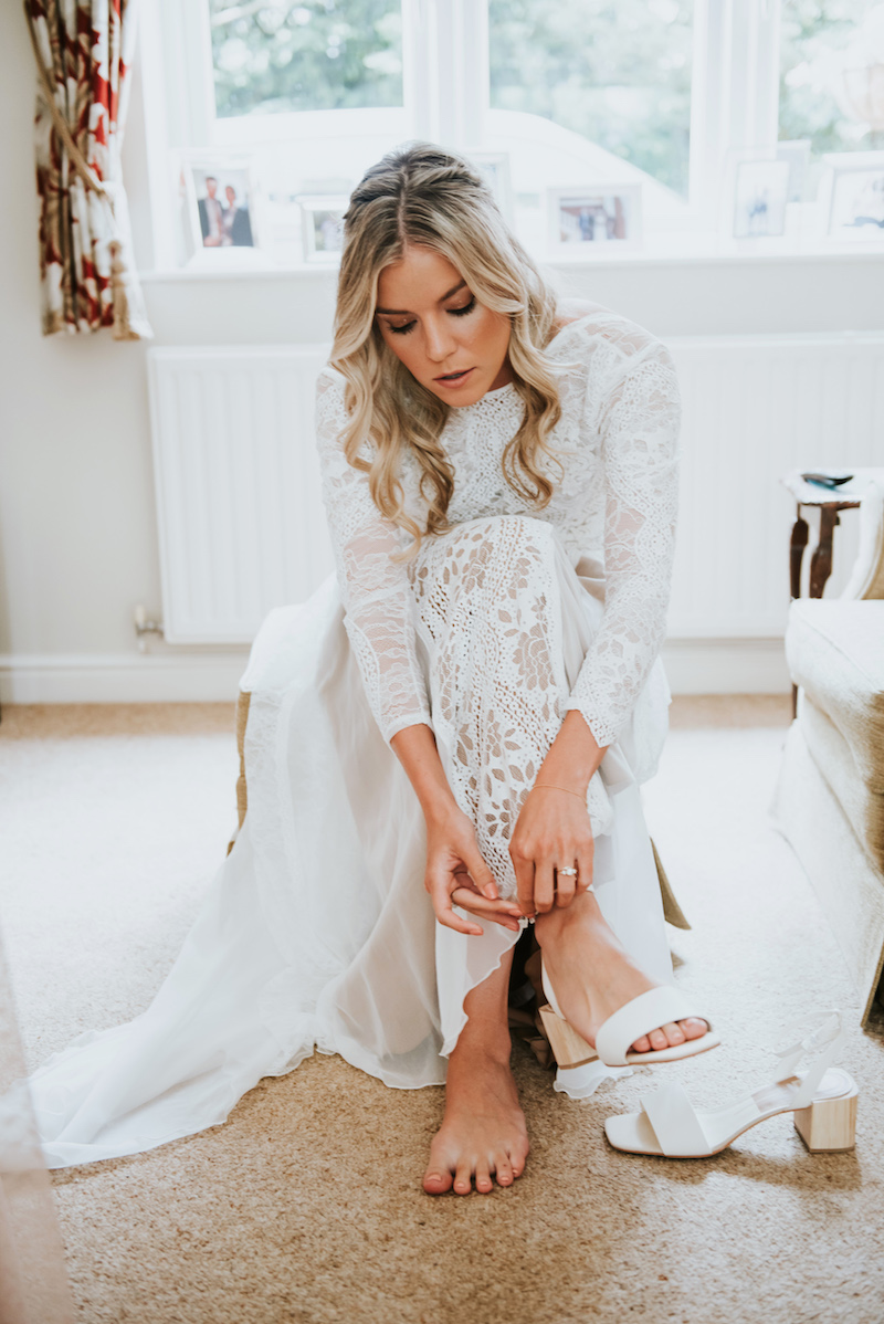 Grace Loves Lace boho wedding dress and open toe shoes
