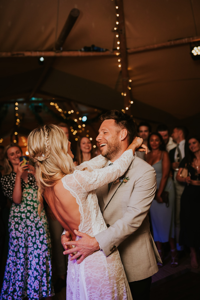 first dance for Becky and James, boho tipi wedding couple