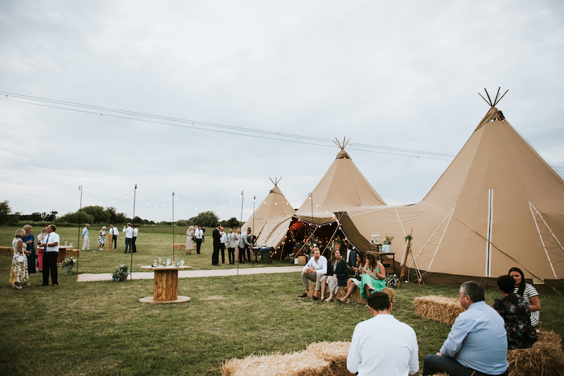 Real tipi wedding in two giant hats and chill-out tipi