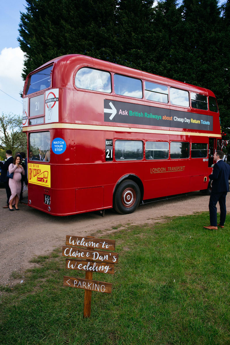Vintage Red Bus for wedding transportation